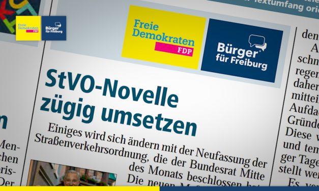 Amtsblatt: StvO-Novelle zügig umsetzen