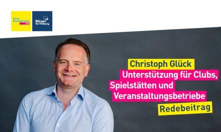 Christoph Glück zur Unterstützung für Clubs und Spielstätten