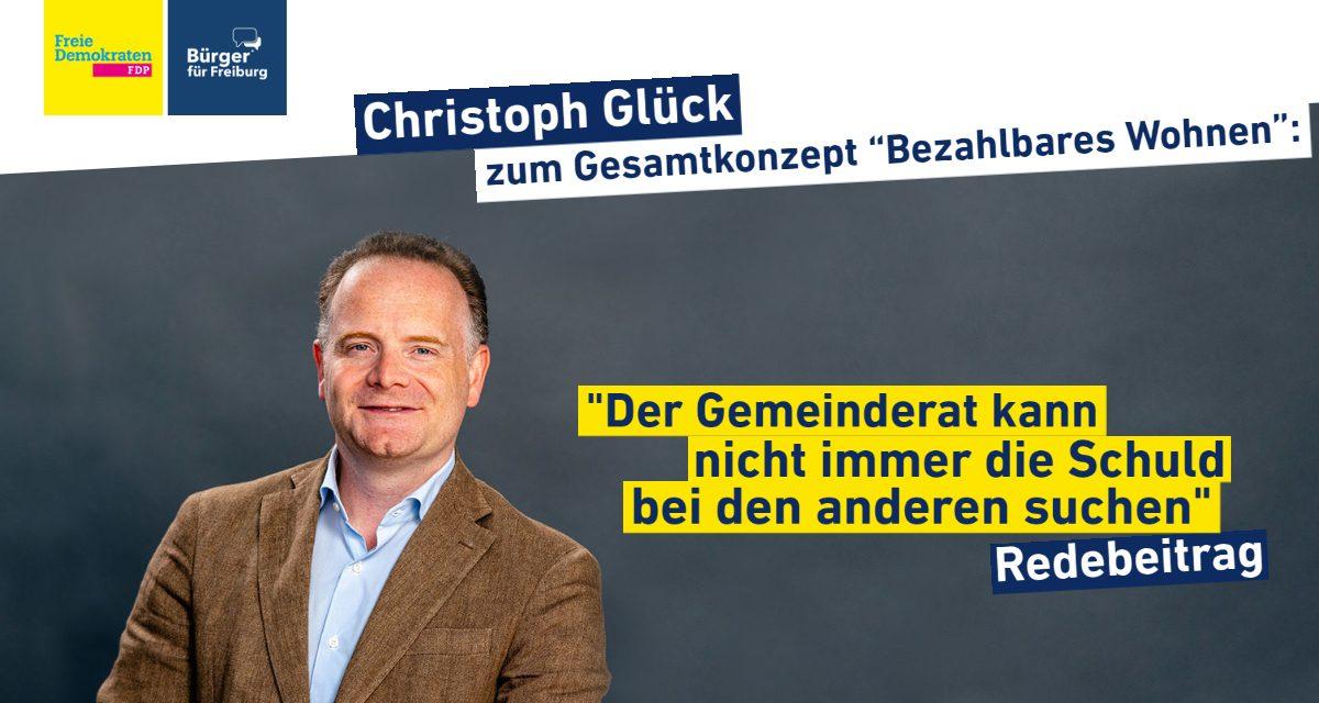 """Redebeitrag: Christoph Glück zum Gesamtkonzept """"Bezahlbares Wohnen 2030"""""""