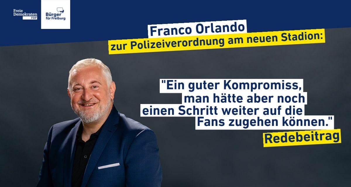 Redebeitrag: Franco Orlando zur Polizeiverordnung für das neue Stadion