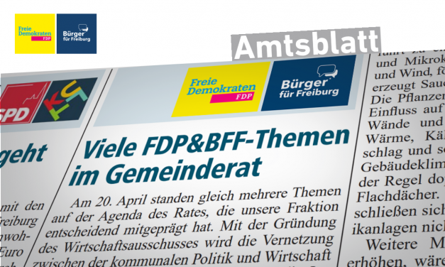 Amtsblatt: Viele FDP&BFF-Themen im Gemeinderat