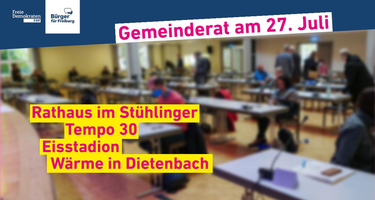 Gemeinderatssitzung: 27. Juli