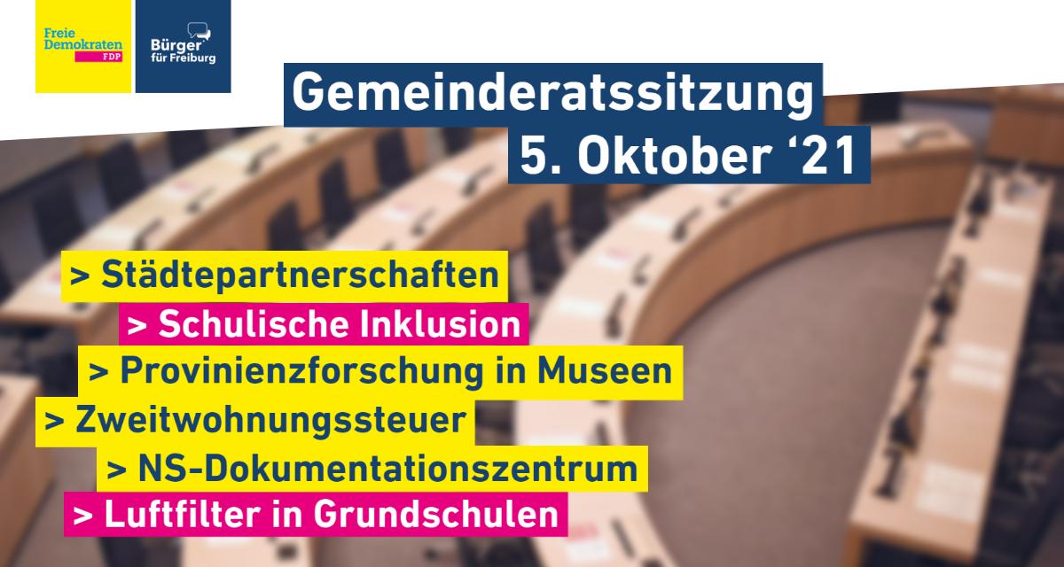 Gemeinderatssitzung: 5. Oktober '21
