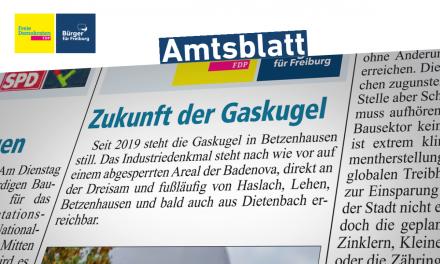 Amtsblatt: Was kommt jetzt für die Gaskugel
